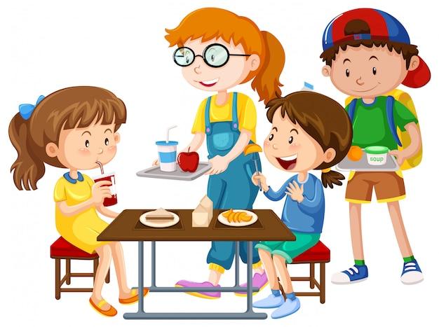Дети едят за столом Бесплатные векторы