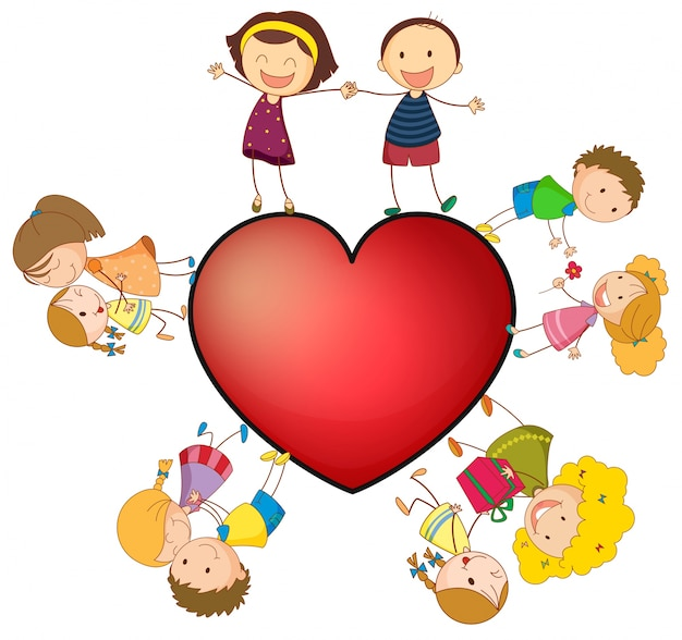 Children and heart Free Vector