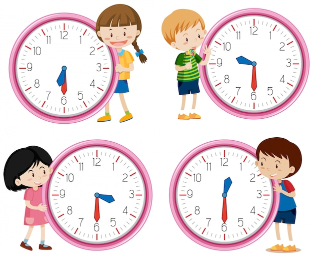 Children holding clock on white background Free Vector