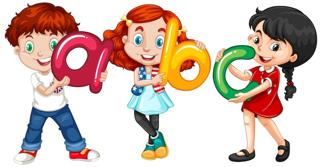 Children holding english letters Free Vector