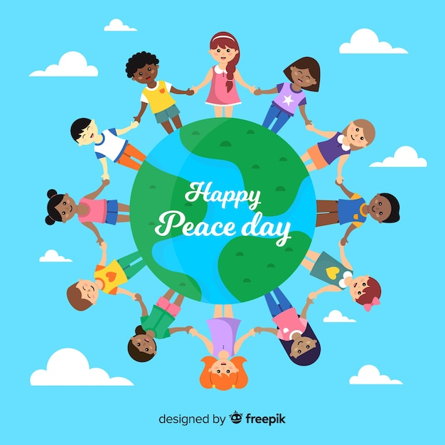 Children holding hands around the word peace day background Free Vector