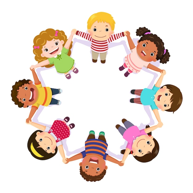 Children holding hands in a circle Premium Vector