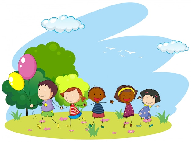 Children holding hands in the park Free Vector