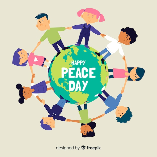Children holding hands on peace day Free Vector
