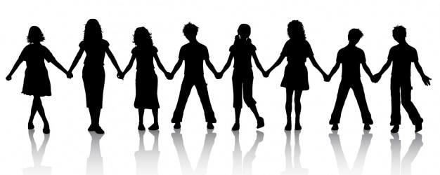 children holding hands silhouette vector free download