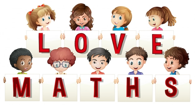 Children holding love maths sign Vector | Free Download
