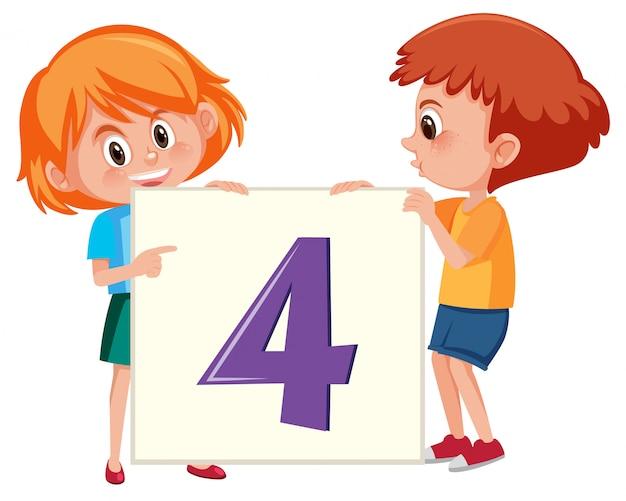 Children holding number four banner Premium Vector