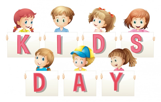 Children holding sign for word kids day Free Vector