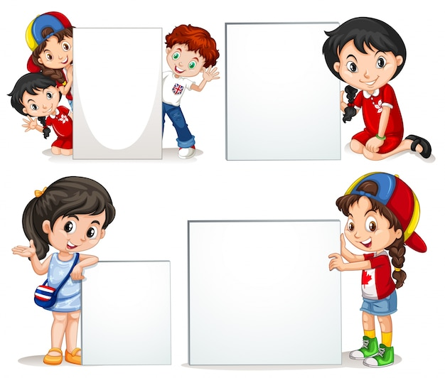 children holding white sign - Cartoon Kids Pics