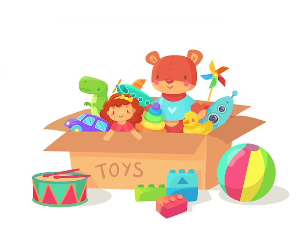 Children holiday gift boxes with child playthings. Premium Vector