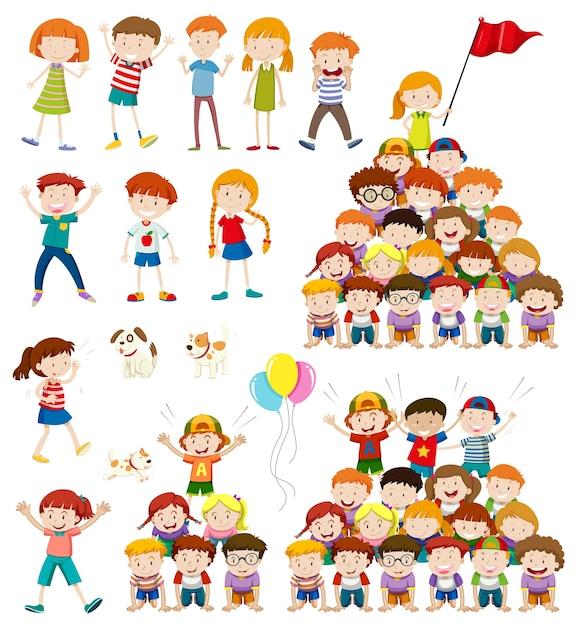 Children and human pyramid illustration Free Vector