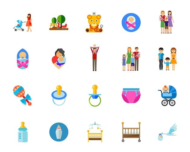Children icon set Free Vector