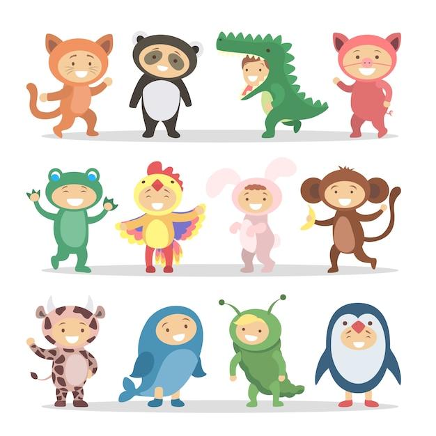 동물 의상 어린이 세트. 재미있는 만화 귀여운 아기. 프리미엄 벡터