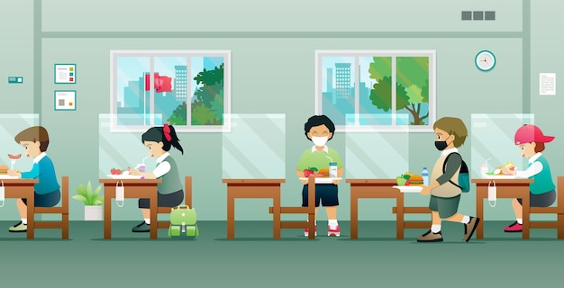 Дети в кафетерии с защитой социального дистанцирования Premium векторы