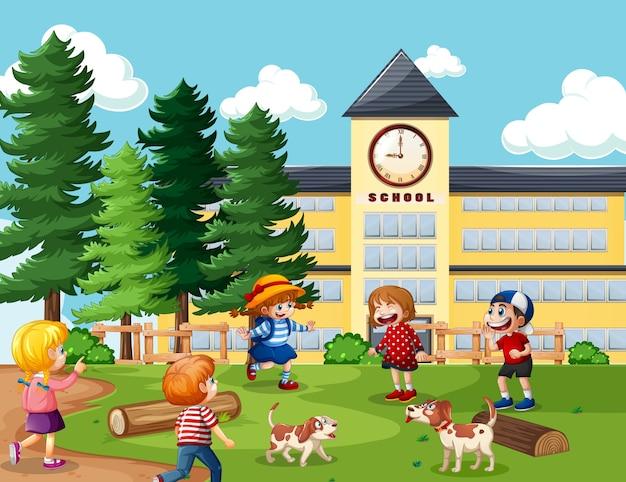Дети на школьной сцене Premium векторы
