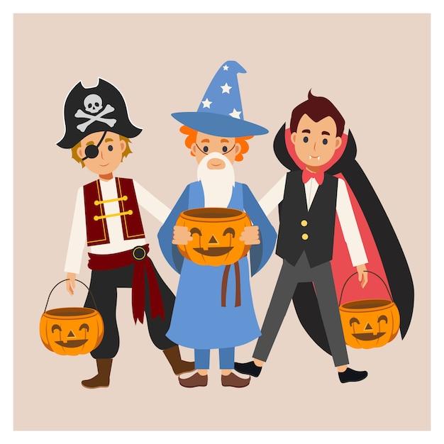 다양한 할로윈 의상을 입은 아이들이 즐길 수 있습니다. 속임수 또는 대우. 뱀파이어 드라큘라, 마법사 소년, 해적. 프리미엄 벡터