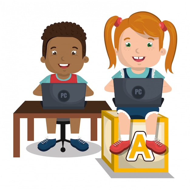 Children interacting with laptop Free Vector