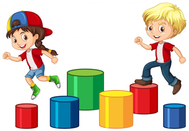 Children jump on the block Premium Vector