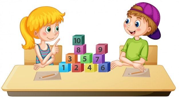 Children learning math number Premium Vector