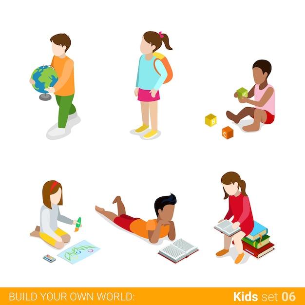 수업 숙제 웹 인포 그래픽 개념 아이콘 세트를 만드는 공부를 배우는 아이들. 무료 벡터