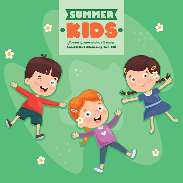 Children lying on grass Premium Vector