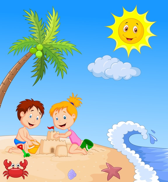 Children making sand castle at tropical beach Premium Vector