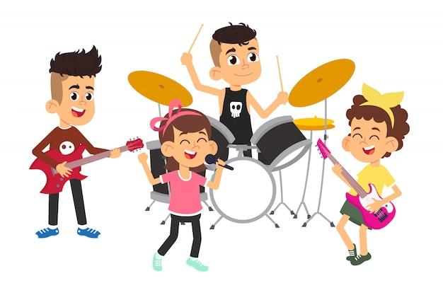 Выступление детей-музыкантов на сцене на шоу талантов Premium векторы