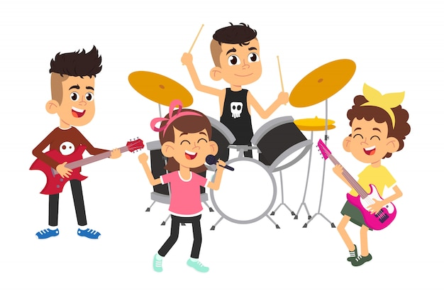 Children musicians performing on stage on talent show Premium Vector