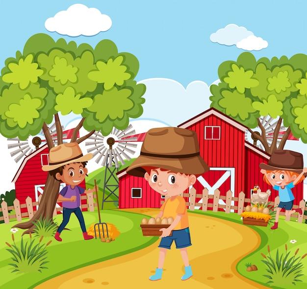 Children at the nature farm Premium Vector