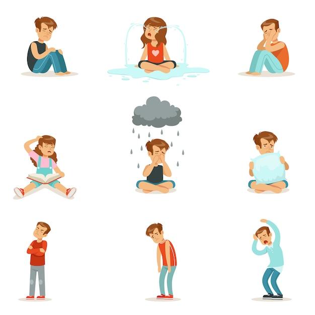 Children negative emotions, expression of different moods Premium Vector