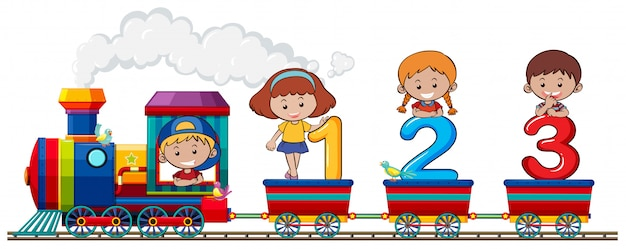 Children and number on the train Free Vector