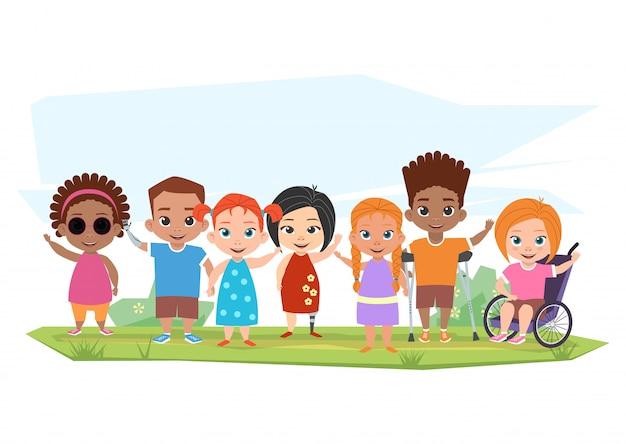 さまざまな障害のある子どもたちと健康な子どもたちのポーズ、 Premiumベクター