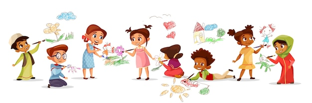 Children of different nationality drawing pictures with chalk pencils illustration  Free Vector