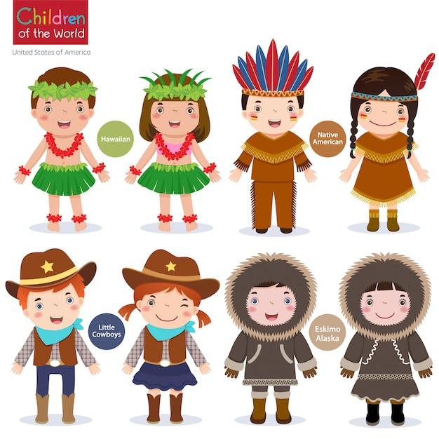 世界の子供たち-米国-ハワイアン-ネイティブアメリカン-カウボーイズ-エスキモー Premiumベクター