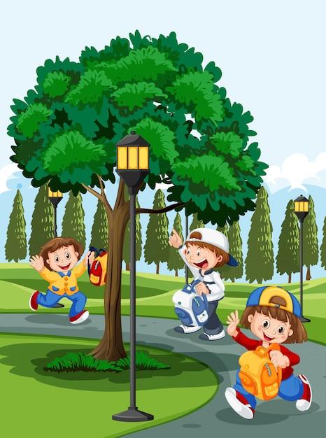 Children in the park Free Vector