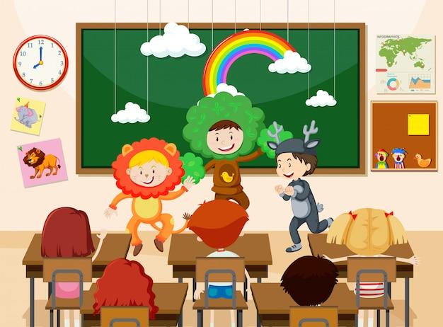 Children performing in front of class illustration Premium Vector