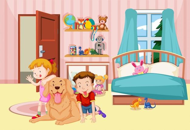 Children and pet dog in bedroom Free Vector