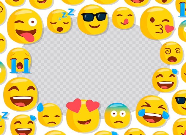 Children photo frame with funny emojis Premium Vector