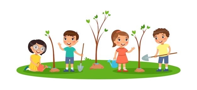 Children plant trees. cute little boys and girls with spades and watering cans. the concept of ecology and the environment. Free Vector
