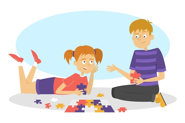 Children play board game. two friends have fun. girl and boy collect puzzle.   illustration in cartoon style Premium Vector