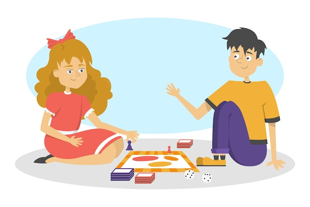 Children play board game. two friends have fun. girl and boy throw dice.   illustration in cartoon style Premium Vector
