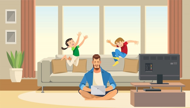 Children play and jump behind working business father Premium Vector