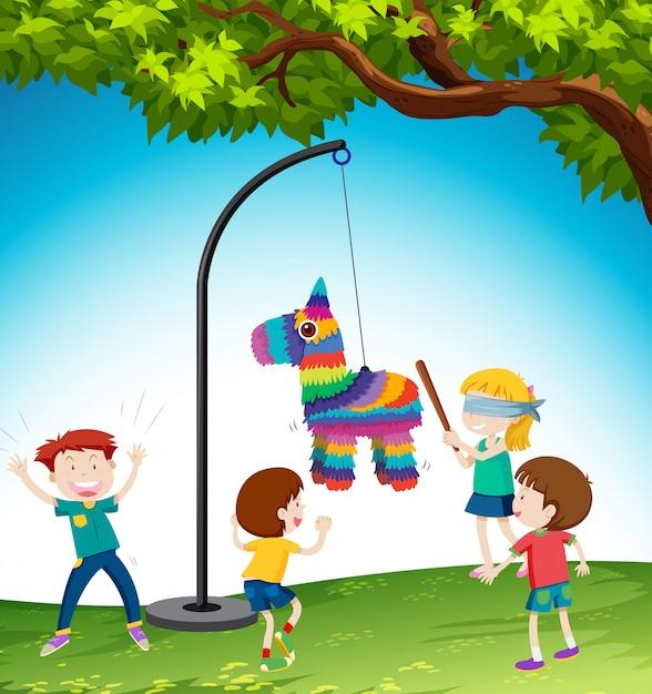 I bambini giocano l'illustrazione dell'asino di pinata Vettore gratuito