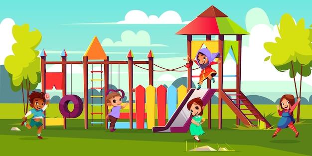 Children playground cartoon illustration with multinational, preschooler kids characters Free Vector