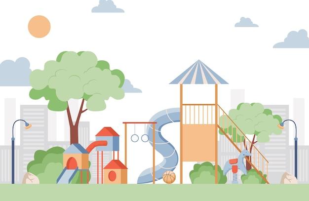 子供の遊び場フラットイラスト Premiumベクター