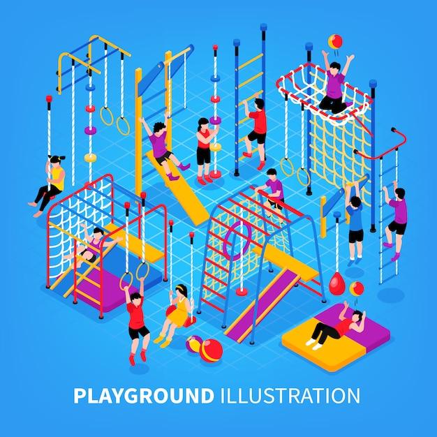 Children playground isometeric background Free Vector