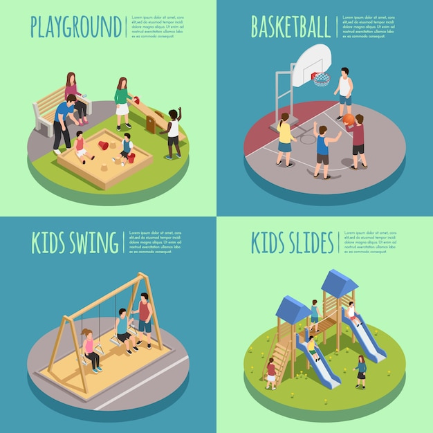 Children playground isometric compositions including kids in sandbox, basketball game, swings and slides isolated Free Vector