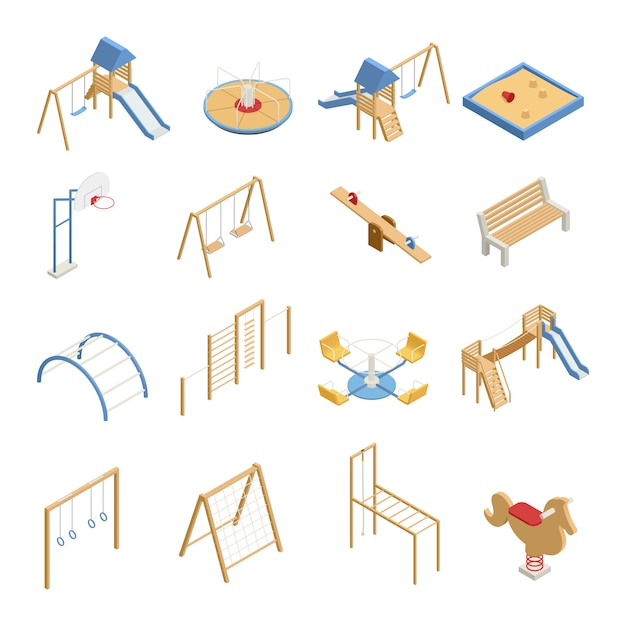 Children playground set of isometric icons with swings, slides, basketball hoop, sandbox, climbing frames isolated Free Vector