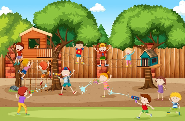 Children at the playground Free Vector