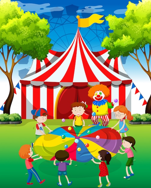 Children playing ball game in the yard Free Vector